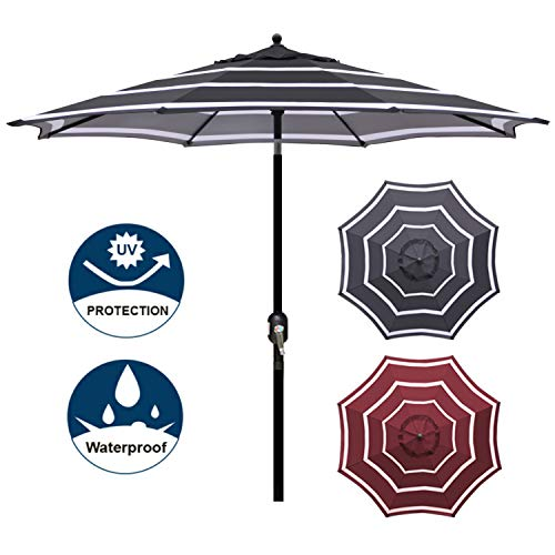 Blissun 9' Outdoor Aluminum Patio Umbrella, Market Striped Umbrella with Push Button Tilt and Crank (Black & ()