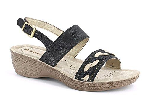 AARZ LONDON Womens Ladies Everyday Diamante Casual Slip-On Comfort Lightweight Spring Summer Slingback Sandals Shoes Size Black 7iz5j42U