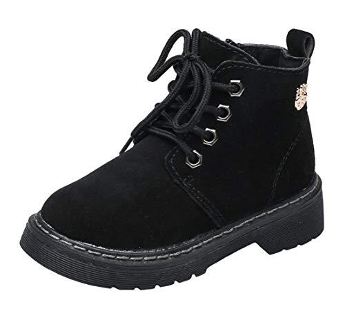 WUIWUIYU Boys' Girls' Retro Warm Fur Lined Outdoor Snow Boots Ankle Bootie Black Size 3 M by WUIWUIYU