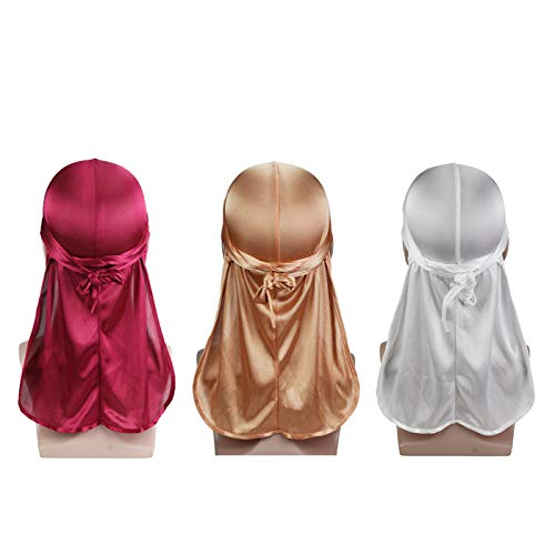 Silky Soft Durag (3PCS) with Extra Long Tail and Wide Straps Headwrap Du-Rag for 360 Waves,Free Size,Wine Wine+white White+ Rose Gold Rose Gold