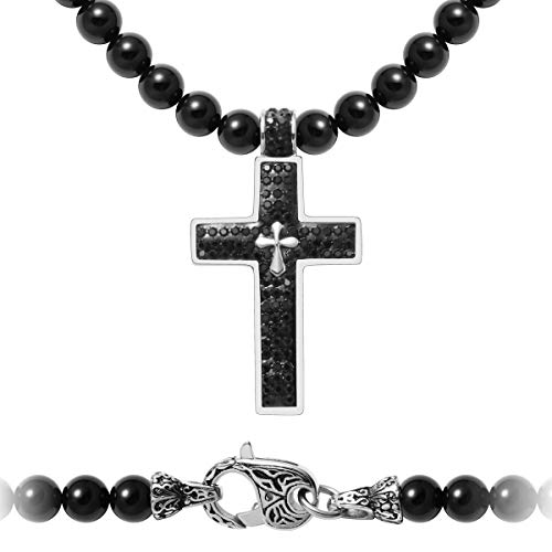 (WESTMIAJW Mens Rosary Beaded Necklace with Stainless Steel Cross Pendant,Black Onyx Gemstone,24