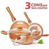 KUTIME 6pcs Cookware Set Non-Stick Frying Pans Set Ceramic Coating Soup Pot, Milk