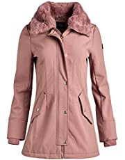 Jessica Simpson Women's Soft Shell Hooded Jacket with Faux Fur Collar - Pink - Small