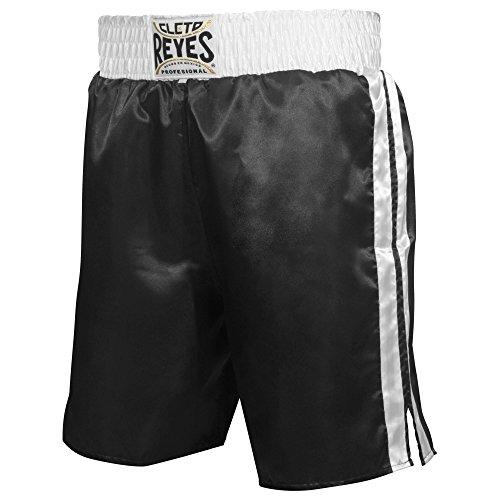 Cleto Reyes Satin Boxing Trunks, Black/White, Medium