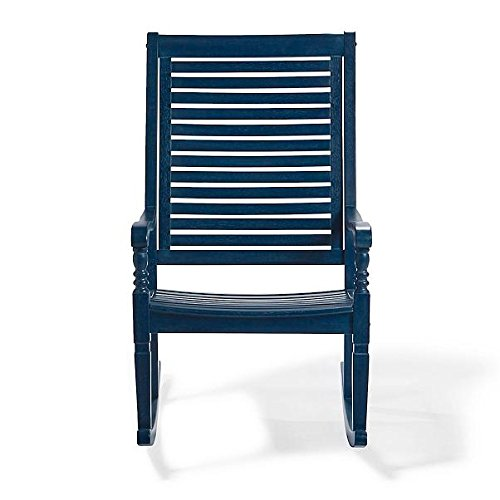 (Traditional Bayside Royal Blue Hardwood Rocking Chair Porch Rocker Outdoor Patio Furniture)