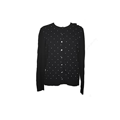 Karen Scott Black Dot-Pattern Crew-Neck Cardigan XL