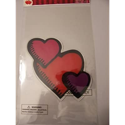 Valentine Jelz Reusable Gel Window Cling ~ Interlocking Fuchsia, Red and Purple Hearts (1 Cling, 1 Sheet; Double-sided): Home & Kitchen