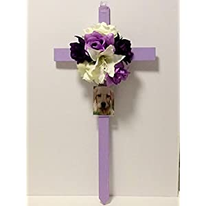 Cemetery Wooden Cross, Photo Frame, Memorial Flowers 62