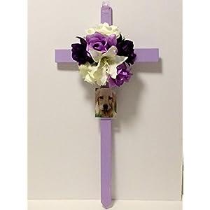 Cemetery Wooden Cross, Photo Frame, Memorial Flowers 2