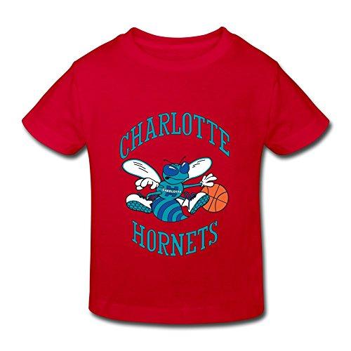 Red Ambom Charlotte Hornets Little Boys Girls Short Sleeve T Shirt For Toddler Size 5-6 Toddler