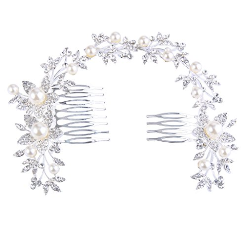 BriLove Women's Bohemian Sunflower Leaf Ivory Color Simulated Pearl Crystal Bride Hair Comb Headband