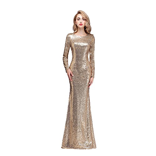 Honey Qiao Gold Bridesmaid Dresses Long Sleeves High Back Prom Party Gowns ()