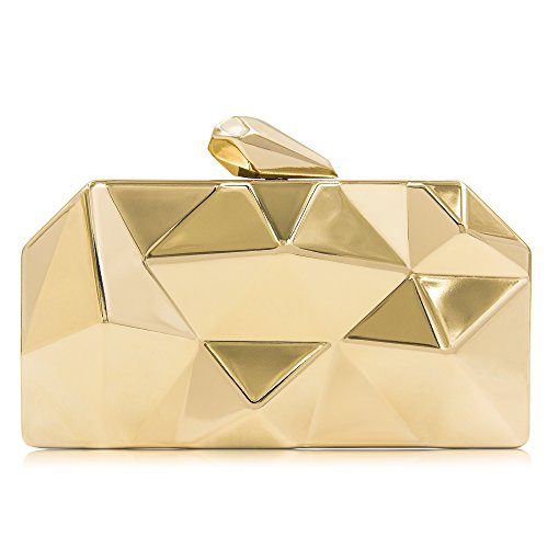 Milisente Women Fashion Metal Evening Handbags Geometric Clutches Purses Bag (Gold) by Milisente