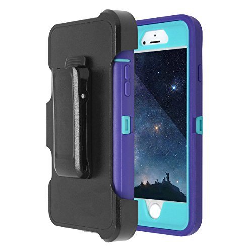 MAXCURY Hybrid Rubber Plastic Impact Defender Rugged Hard Case with Built-in Screen Protector and Belt Clip Holster Compatible for iPhone 6 and iPhone 6s Case (Purple/Lt Blue & Clip)