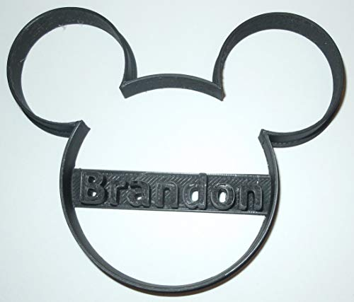 CUSTOM NAME PERSONALIZED MICKEY MOUSE HEAD DISNEY BABY SHOWER BIRTHDAY SPECIAL OCCASION COOKIE CUTTER BAKING TOOL 3D PRINTED MADE IN USA PR773 (Custom Cookies Printed)