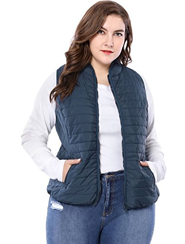 Agnes Orinda Women's Plus Size Stand Collar Zip Up Quilted Padded Vest 2X Blue