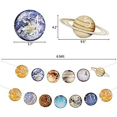 Cieovo Outer Space Theme 1st Birthday Baby Photo Banner for Newborn to 12 Months, Monthly Milestone Photograph Bunting Garland, Solar System Planet First Birthday Celebration Decoration: Toys & Games