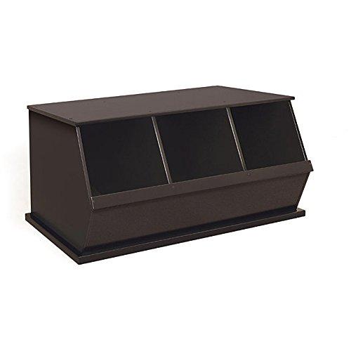 Three Bin Stackable Storage Cubby in Espresso