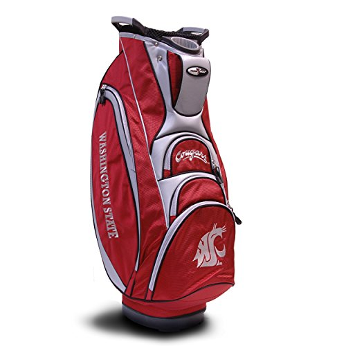 (Team Golf NCAA Washington State Cougars Victory Golf Cart Bag, 10-way Top with Integrated Dual Handle & External Putter Well, Cooler Pocket, Padded Strap, Umbrella Holder & Removable Rain)