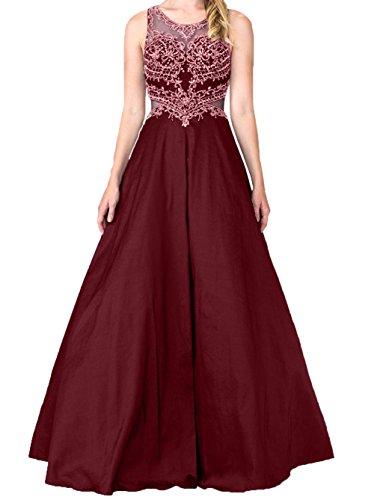Abendkleider Festlichkleider Burgundy A Damen Promkleider Brautmutterkleider Charmant Linie Abschlussballkleider Langes Lila Spitze gd0Fn