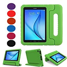 TabE 9.6 Case -Lumcrissy Shockproof Case Kids Super Protection Cover Handle Stand for Samsung Galaxy TabE / TabE Nook 9.6 Inch 2015 Tablet SM-T560(For WiFi and Verizon 4G LTE Version) (Green)