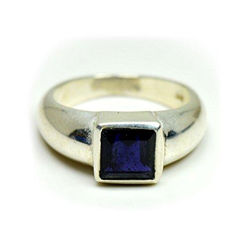 Iolite Ring (Gemsonclick 925 Sterling Silver Design Natural Iolite Square Shape Ring GOMMSR-276)