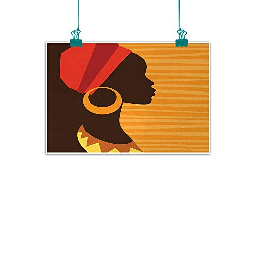 Unpremoon African,Contemporary Art Girl Profile Silhouette with Earrings Feminine Grace Ethnic Icon Image W 32