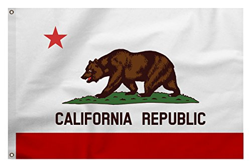 Quality Cotton, Stitched Stripe, California Republic Bear State Flag, 4 x 6 ft, New, Made in USA