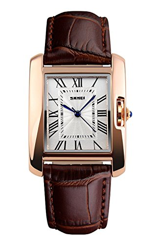 0711155e68a Fanmis Womens Watches Rose Gold Case Roman Numeral Luxury Wristwatch Brown  Leather Strap Watch