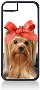 Yorkie with a Big Bow- Case for the Apple Iphone 5-5s Universal-Hard Black Plastic Outer Shell with Inner Soft Black Rubber Lining-(NOT 5C)