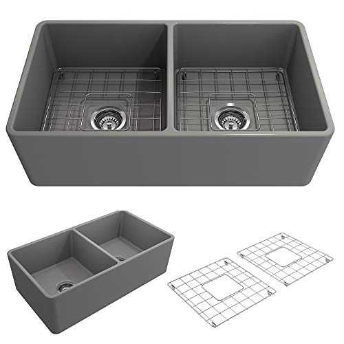 BOCCHI 1139-006-0120 Classico Apron Front Fireclay 33 in. Double Bowl Kitchen Sink with Protective Bottom Grid and Strainer in M.Grey,