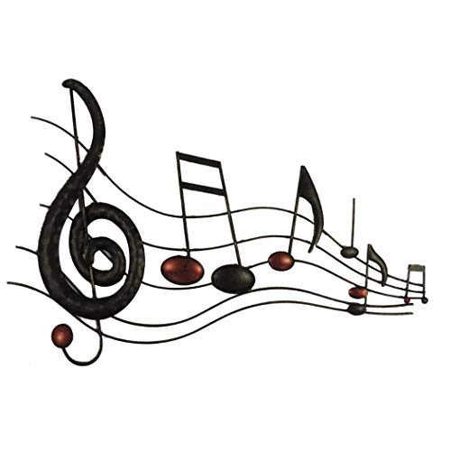 Décor Music Notes Metal Wall Decor in Black -