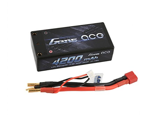 Gens ace 4200mAh 7.4V 60C 2S2P Hardcase Lipo Battery Pack 10# with 4.0mm Banana to Deans Plug Official Car Parts