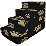 Best Pet Supplies 4-Step Foam Pet Stairs/Steps Cover Only-Beige Paw on Black