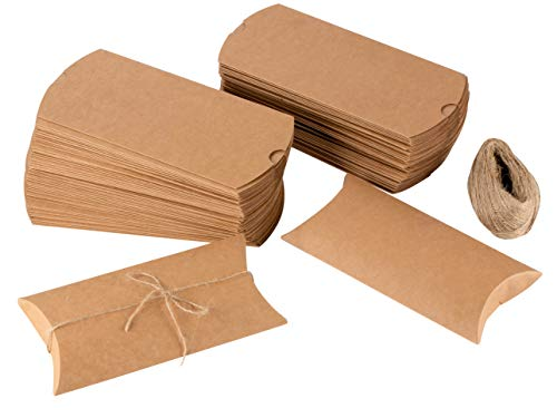 Pillow Boxes - 100-Pack Kraft Paper Gift Boxes, Party Favor Boxes for Jewelry, Candy, Small Note Card, Jute Twine Included, Brown, 7.5 x 3.7 x 1.2 Inches