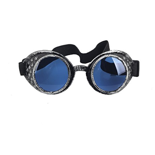 SLTY Steampunk Goggles,Welding Goth Cosplay Rustic Glasses Eyewear(Old Silver)]()