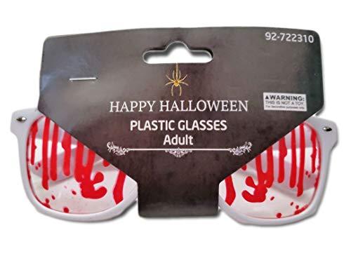 White Rim Wayfarer Style Blood Streaked Glasses/Costume; Great for Birthday Parties, Halloween, Dia De Los Muertos, Cosplay, etc ()
