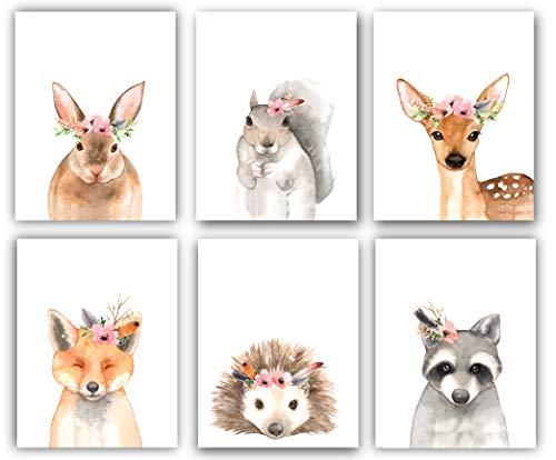 Woodland Floral Crown Animals Nursery Decor Watercolor Art - Set of 6 (UNFRAMED) 8x10 Prints (Option 1)