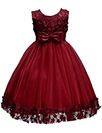 1-14T Big/Little Girl Ball Gown Lace Christmas Party Dresses A-Line Flower Girls Dress With Bowknot For Wedding