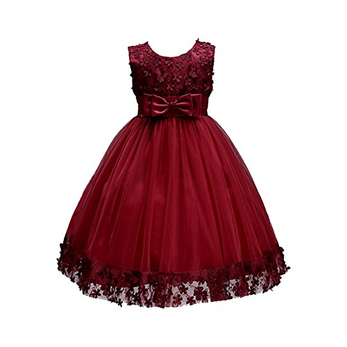 Weileenice 1-14T Big/Little Girl Ball Gown Lace Party Dresses A-line Flower Girls Dress With Bowknot For Wedding Christmas Ball Gowns
