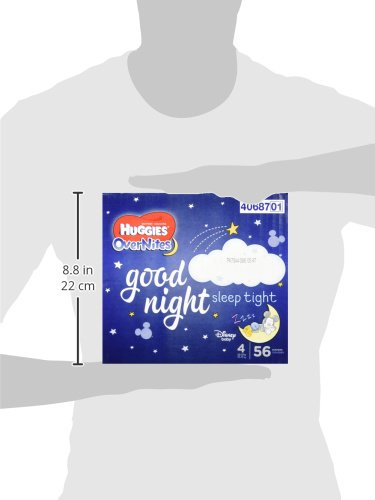 Large Product Image of HUGGIES OverNites Diapers, Size 4 for 22-37 lbs, Pack of 56 Overnight Baby Diapers (packaging may vary)