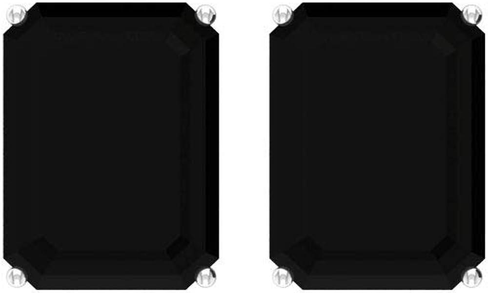 Pendientes de tuerca de 4,5 quilates con certificado SGL, color negro, para mujer, con piedra de nacimiento octogonal, para aniversario, art déco, para novia, boda, tornillo hacia atrás