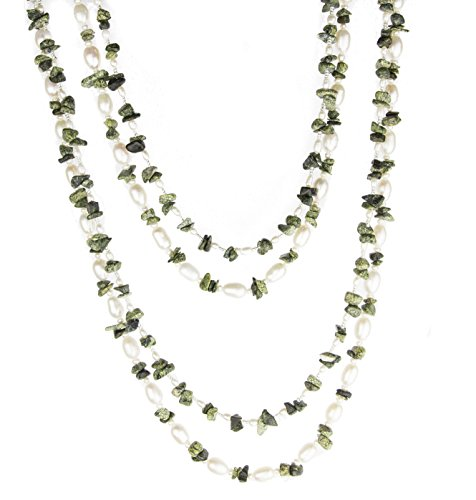 Endless Chips Necklace (HinsonGayle 'Olive' 2-Strand Freshwater Cultured Pearl & Moss Green Jasper Necklace & Dangle Earrings-40 in length)