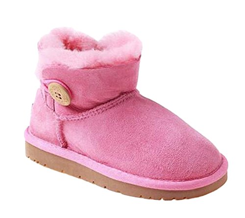 Ozwear UGG Short Snow Boots One Wooden Buckle Toddler Leopard Boots Pink (US Little Kid 11M/12M)(UK 10/11)(AU 11/12)(EU 28) (Leopard Ugg)
