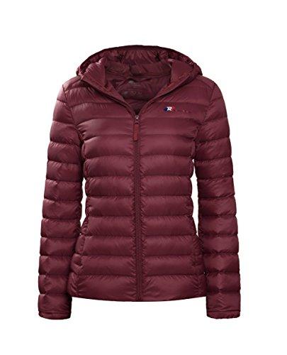 Rokka   Rolla Womens Ultra Lightweight Hooded Packable Puffer Down Jacket  Burgundy  S