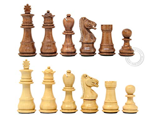 Natural Wood Chess - House of Chess - Ringy Rosewood (Acacia Rhodoxylon) / Boxwood Galaxy Staunton Wooden Chess Set Pieces - King Height: 3