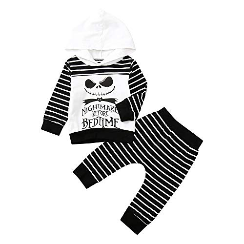 Cool Baby Boy Letter Skull Cartoon Hooded Sweater Striped Pants Halloween Outfits Set Zulmaliu (White, 3T- 4T)