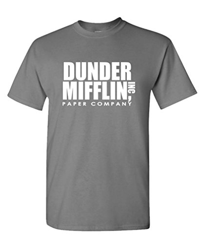 Dunder Mifflin - Office Show Paper Company - Mens Cotton T-Shirt, L, Charcoal