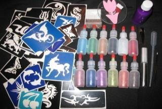 Professional Glitter Tattoo Kit w 100 3 layer Adhesive Stencils