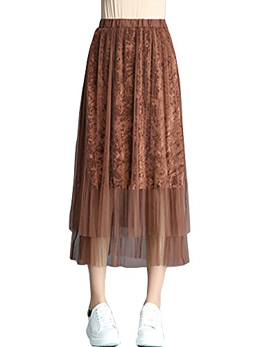 Gooket Women's Retro Elastic High Waist Tulle With Velvet Skirt A-Line Pleated Midi Calf Skirt Caramel